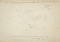 [A Plan of the Property in St. Pauls' Church Yard showing the boundary between the land owned by the Bishop of London and the Mercers' Company]